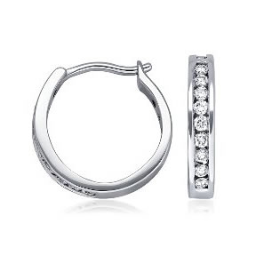 Channel set diamond earrings