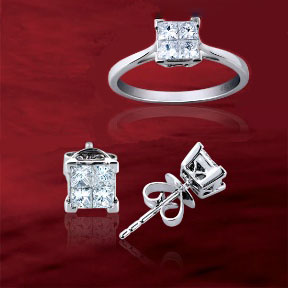Invisible setting princess cut diamond earrings and ring