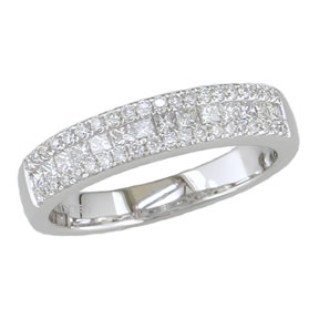 Invisible setting princess cut round diamond band