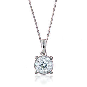 Invisible setting round diamond pendant