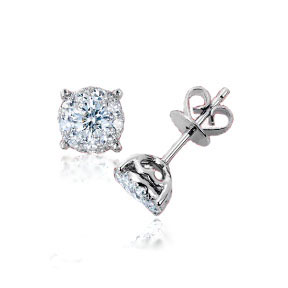 Invisible setting stud diamond earrings